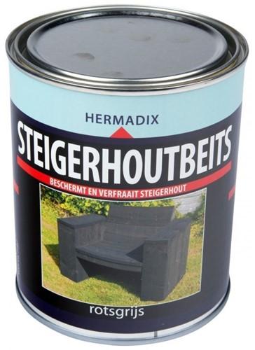Hermadix steigerhoutbeits, transparant, rotsgrijs, blik 0,75 liter