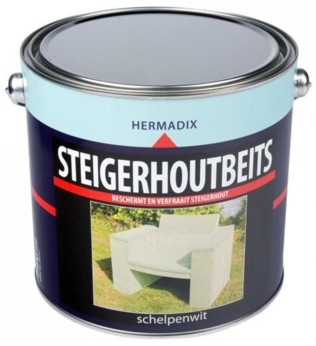 Hermadix steigerhoutbeits, transparant, schelpenwit, blik 2,5 liter