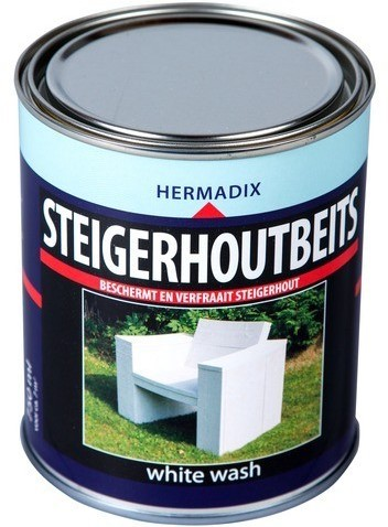 Hermadix steigerhoutbeits, transparant, white wash, blik 0,75 liter