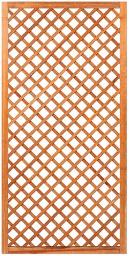 Trellisscherm diagonaal, afm.  90 x 180 cm, hardhout