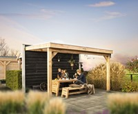 Hillhout douglas veranda Excellent 400, afm. 428 x 400 cm, opaal dakplaat-2