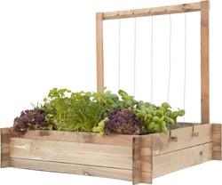Woodvision minigarden met frame en touw, afm. 90 x 90 x 100 cm, geïmpregneerd grenen