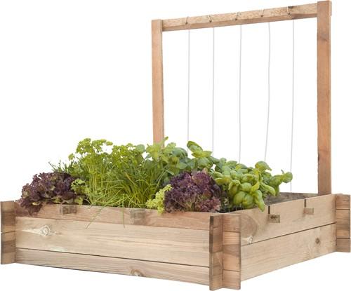 Woodvision minigarden met frame en touw, afm. 90 x 90 x 100 cm, geïmpregneerd grenen, b-keus