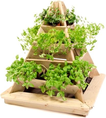 Woodvision minigarden pyramide, afm. 72 x 72 x 78 cm, geïmpregneerd grenen