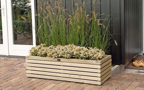 Hillhout Elan bloembak Excellent, afm. 120 x 50 x 33, groen geïmpregneerd vuren-2