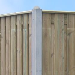 beton hoekpaal met bolkop voor hout/betonschutting 10x10, lengte 275 cm, glad wit