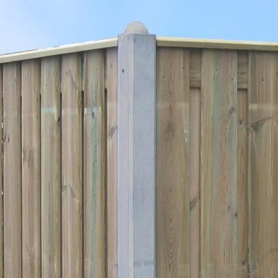 beton hoekpaal met bolkop voor hout/betonschutting 10x10, lengte 275-74 cm, glad wit