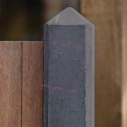beton hoekpaal met diamantkop voor hout/betonschutting 10x10, lengte  275 cm, antraciet glad