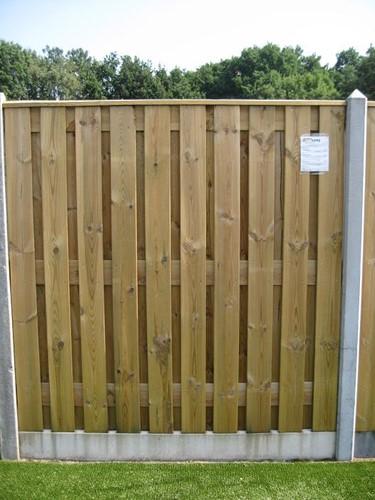 hout/betonschutting 10x10, 22-planks tuinscherm, dubbele plaat, grijs stampbeton, per 0,95 m