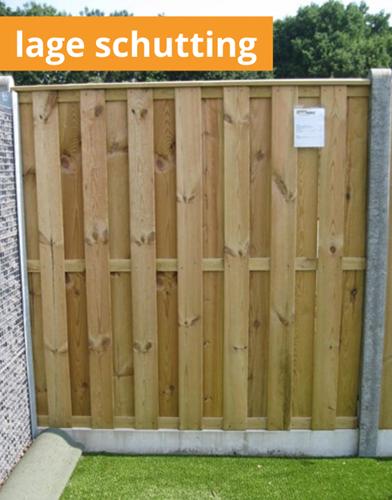 hout/betonschutting 10x10-systeem, plm. 110 cm hoog - per 1,9 m