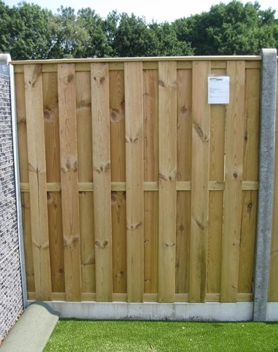 hout/betonschutting 10x10, 15-planks tuinscherm, dubbele betonplaat, antraciet stampbeton, per 0,95 m