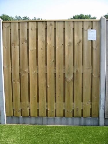 hout/betonschutting 10x10, 24-planks scherm, grijs stampbeton, per 0,95 m