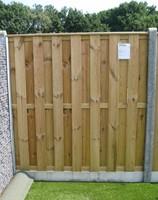 hout/betonschutting 10x10, 15-planks tuinscherm, grijs stampbeton,  per 0,95 m-1