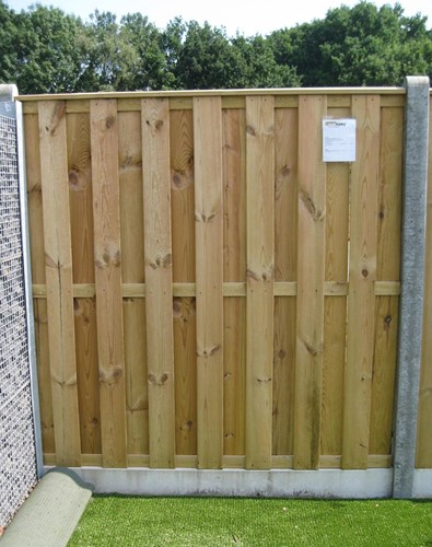 hout/betonschutting 10x10, 15-planks tuinscherm, dubbele betonplaat, grijs stampbeton, per 0,95 m
