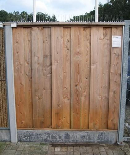 hout/betonschutting 12x12, douglas dichtscherm, douglas deksloof, wit beton, per 0,96 m