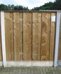 hout/betonschutting 12x12, dichtscherm 144, hardhouten deksloof, 3 enkelzijdige motiefplaten antraciet beton, per 0,96 m