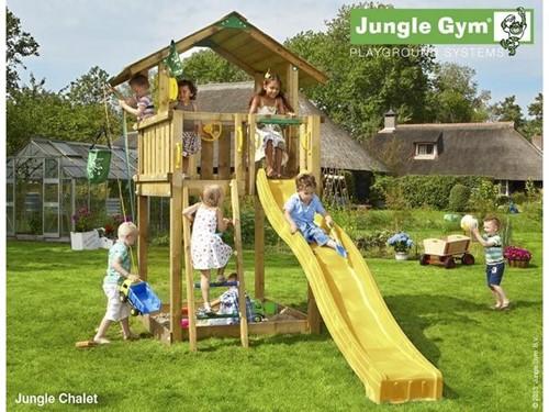 Jungle Gym speeltoren Jungle Chalet, montagekit inclusief glijbaan en houtpakket op maat gezaagd