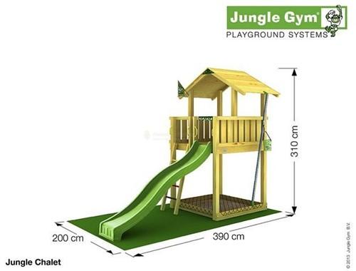 Jungle Gym speeltoren Jungle Chalet, montagekit inclusief glijbaan en houtpakket op maat gezaagd-2