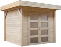 Blokhut Kiekendief, afm. 200 x 300 cm. plat dak, houtdikte 28 mm, blank vuren-1