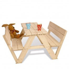 Kinderpicknicktafel Noor, met rugleuning, 90x106x50 cm