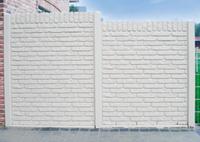 betonplaat voor schutting, afm. 184x36 cm, enkelzijdig klassieksteen motief, wit