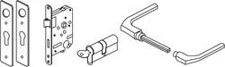 Hillhout klinkstel met cilinderslot voor ijzeren deurframe