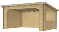 Overkapping Kolgans met lessenaarsdak, afm. 500 x 350 cm, blank vuren-1