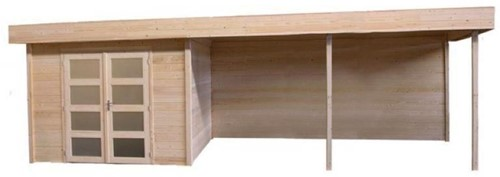 Blokhut Kolibri met luifel 400, afm. 650 x 250 cm, plat dak, houtdikte 28 mm.