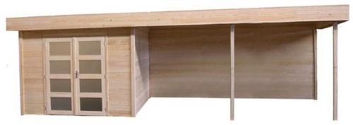 Blokhut Kolibri met luifel 600, afm. 850 x 250 cm, plat dak, houtdikte 28 mm, blank vuren