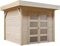 Blokhut Kolibri, afm. 250 x 250 cm, plat dak, houtdikte 28 mm, blank vuren-1
