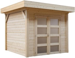 Blokhut Kolibri, afm. 250 x 250 cm, plat dak, houtdikte 28 mm, blank vuren