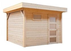Blokhut Korhoen, afm. 300 x 200 cm, plat dak, houtdikte 28 mm, blank vuren