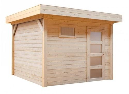 Blokhut Korhoen, afm. 300 x 200 cm, plat dak, houtdikte 28 mm, blank vuren-1