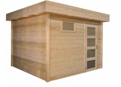 Blokhut Kuifmees, afm. 250 x 250 cm, plat dak, houtdikte 28 mm, blank vuren