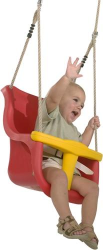 Schommelzitje voor baby, rood/geel kunstof