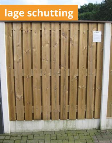 hout/betonschutting 12x12, laag 24-planks scherm, geïmpregneerde deksloof, wit beton, per 0,94 m
