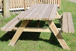 Picknicktafel Larson, 110 cm, geimpregneerd grenen, houtdikte 32 mm, opklapbare zittingen