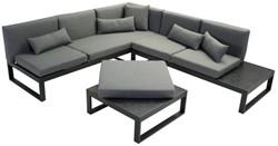 Loungeset Malaga, hoekbank 260 x 230 cm met tafel, aluminium