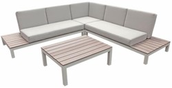 Loungeset Melany, hoekbank 246 x 246 cm met tafel, aluminium