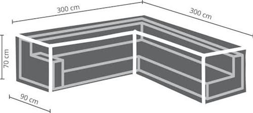 Distri-Cover loungesethoes L-hoek, afm. 300/90 x 300/90 x 70 cm.-2