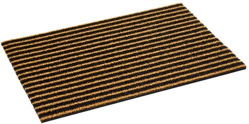 Deurmat Coco Bros stripe, afm. 40 x 60 cm, bruin/zwart gestreept