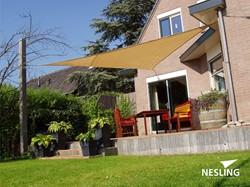 Nesling Coolfit schaduwdoek, driehoek, afmeting 3,6 x 3,6 x 3,6 m, zand