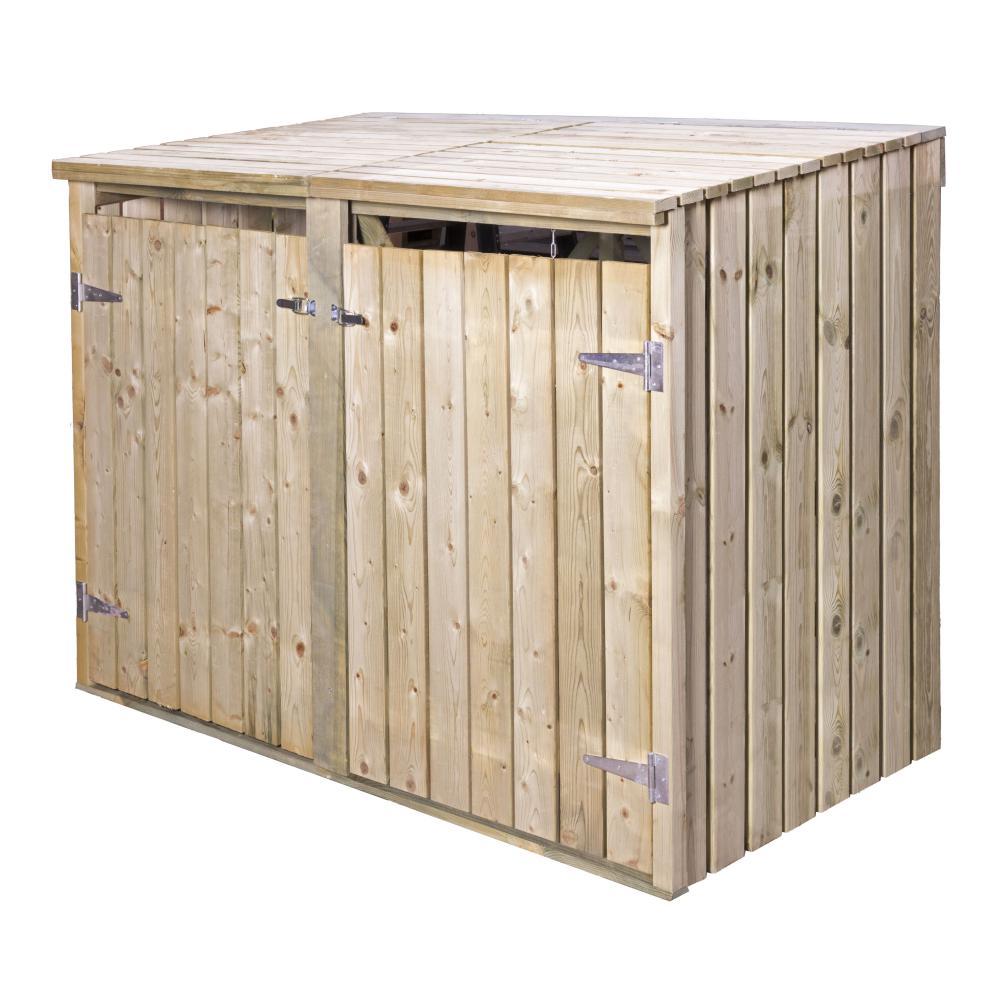 Outdoor Life Containerkast dubbel modern, zonder achterwand, groen geïmpregneerd grenen