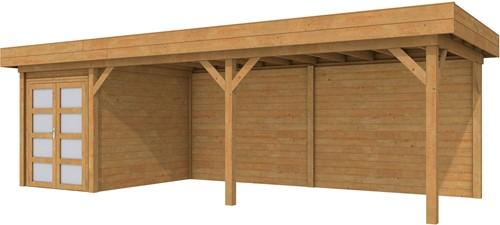 Blokhut Zwaluw met luifel 600, afm. 800 x 300 cm, plat dak, houtdikte 28 mm. - bruin geïmpregneerd