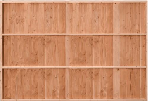 Douglasvision Wand D, verticale wanden, enkelzijdig halfhouts Zweeds rabat, afm. 328,5 x 232 cm