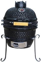Kamado keramische barbecue/smoker/oven voor houtskool, afm. 35 x 35 x 50 cm, mini-uitvoering, zwart