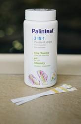 Palin teststrips 3 in 1, voor meten van pH, hardheid (alkaliniteit) en chloor, verpakking 50 strips