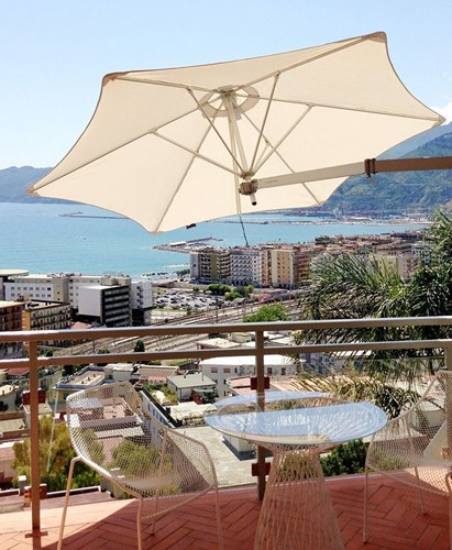 Umbrosa Paraflex parasol, hexagonaal, 270 cm - Flanelle (Sunbrella)