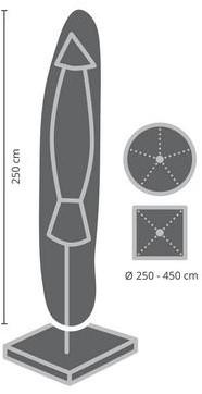 Distri-Cover parasolhoes staande parasol met diameter tussen 250 en 450 cm