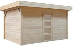 Blokhut Parelhoen, afm. 400 x 300 cm, plat dak, houtdikte 28 mm, blank vuren